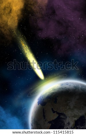 Earth in space with a flying asteroid. Asteroid impact. Apocalypse (elements furnished by NASA).