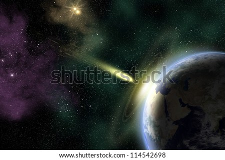 Earth in space with a flying asteroid. Asteroid impact. Armageddon (elements furnished by NASA).