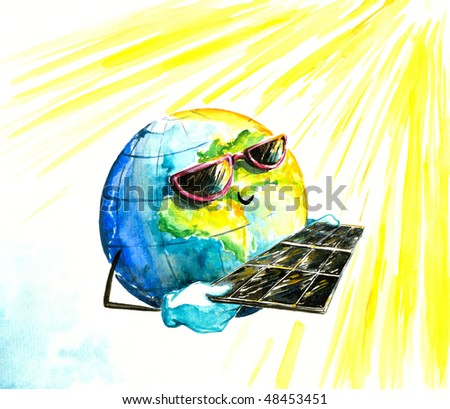Earth in sun glasses with solar panels.Picture I have created myself with watercolors.