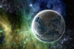 Earth in the colorful galaxy fantasy wallpaper. Elements of this image furnished by NASA .
