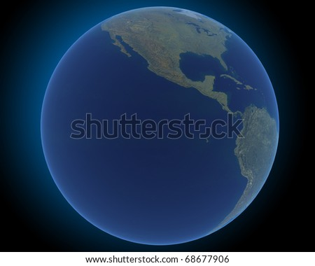 earth in the dark space with blue halo