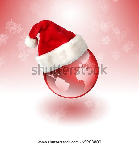 Earth in the Santa hat. Symbol of the new year on our planet. Happy New Year and Merry Christmas!