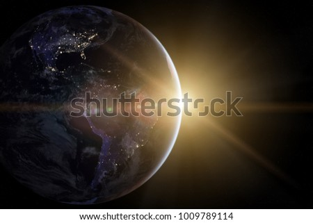 Earth in the space. Beautiful sunrise. Elements of this image furnished by NASA. #1009789114