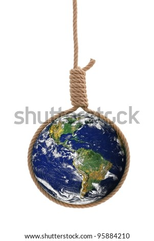Earth in thick gallows rope. Danger or distress concept. Elements of this image furnished by NASA