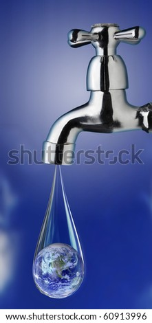 earth in water drop from tap