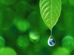 Earth in water drop reflection under green leaf, water and environment concept, Elements of this image furnished by NASA