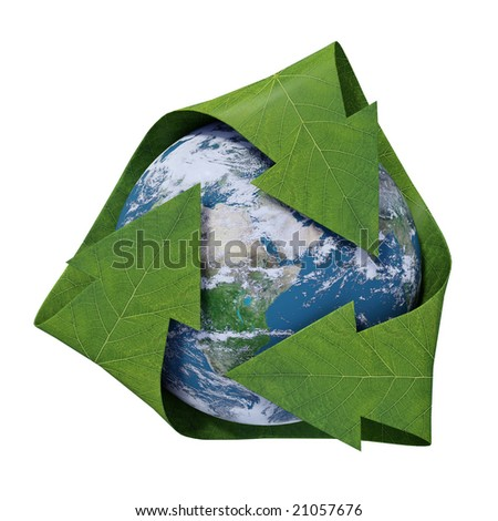 Earth inside a recycling symbol with leaf texture