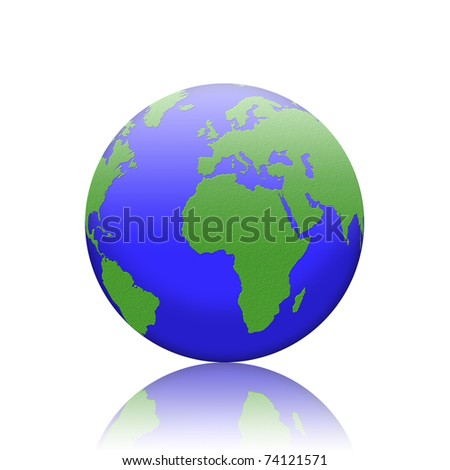 earth isolated on reflect floor and white background