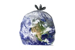 Earth like a trash bag. Global catastrophe concept (pollution, garbage, plastic, greenhouse effect, global warming are destroying our planet).