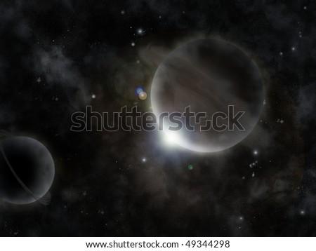 Earth like planet. Space sunrise