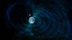 Earth magnetic fields, elements of this image furnished by NASA.