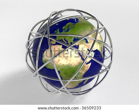 Earth - Metal scribble ball