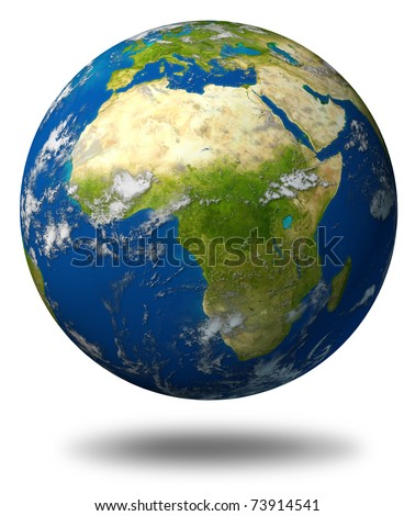 Earth model planet featuring Africa and middle eastern countries surrounded by blue ocean and clouds isolated on white.