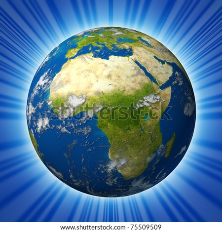 Earth model planet featuring Africa and middle eastern countries surrounded by blue ocean and clouds isolated on radial background.