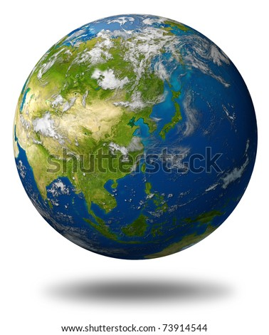 Earth model planet featuring the continent of Asia including China Japan Korea and India surrounded by blue ocean and clouds isolated on white.