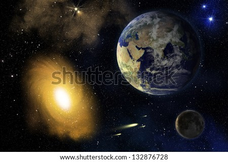 Earth, Moon and spiral galaxy in deep outer space (elements furnished by NASA)