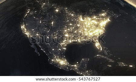 Earth Night North America From Space