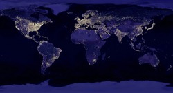 Earth night view from space map with city lights satellite-based observations.