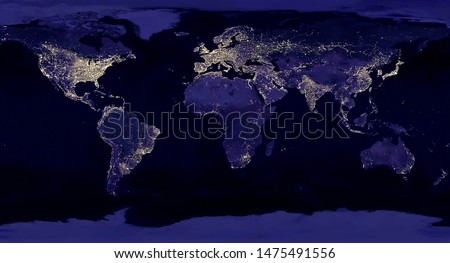 Earth night view from space map with city lights satellite-based observations. 'Elements of this image furnished by NASA light pollution map Foto stock ©