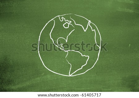 Earth on blackboard
