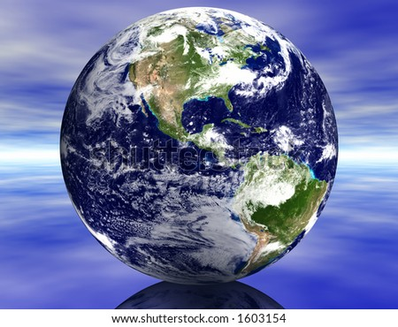 Earth on Reflective Surface