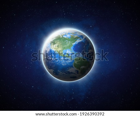 Earth on space. Blue Planet Earth view from outer space show North, South America, USA. World Global in Universe, Star field, Galaxy, Nebula. Earth 3D render -Elements of this image furnished by NASA