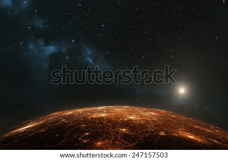 Earth or any other inhabited planet showing city lights at night
