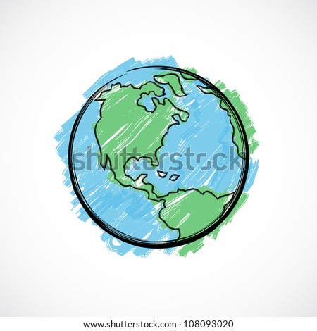 Earth painted with brush on gradient background.