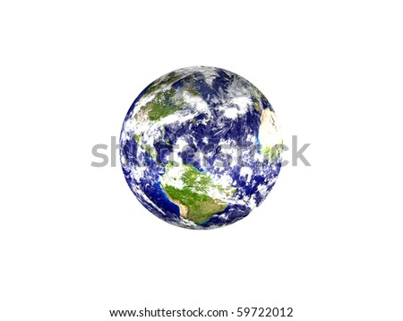 Earth planet - America, isolated on white background