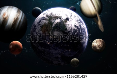 Earth planet and all planets of Solar system. Science fiction art. Elements of this image furnished by NASA #1166281429