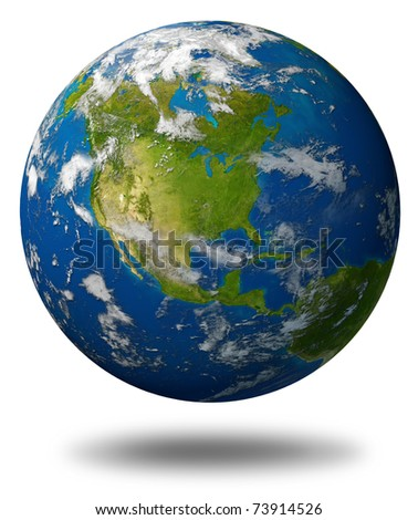 Earth planet featuring North america with the United States Canada and Mexico surrounded by blue ocean and clouds isolated on white.