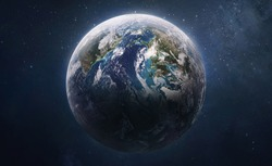 Earth planet globe in deep outer space. Atmosphere and clouds. Exploration of solar system. Elements of this image furnished by NASA.