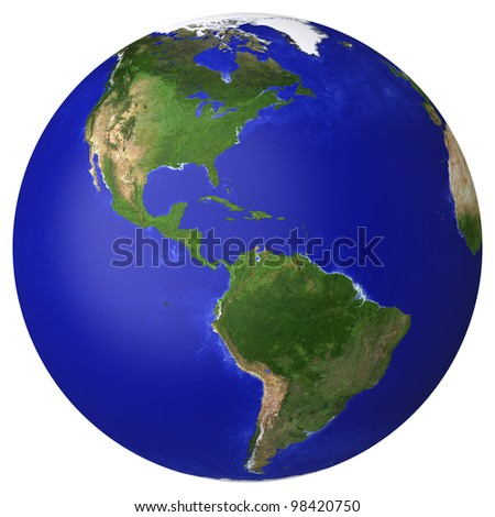 Earth planet globe map. Side of the North and South America. The Earth texture of this image furnished by NASA. (http://visibleearth.nasa.gov/view_rec.php?id=2430) - stock photo