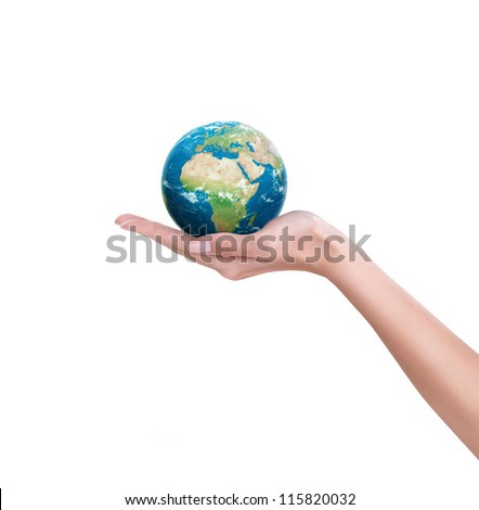 "Earth planet in female hand,  ""Elements of this image furnished by NASA"" - stock photo"