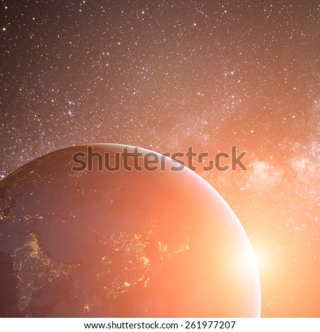 Earth planet in sun rays. Elements of this image are furnished by NASA #261977207