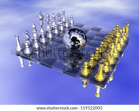 Earth planet in the middle of a chess board, game not strarted yet, in blue background