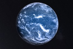 Earth Planet of solar system with after the flood white atmosphere in outer space. Global disaster concept. Blue planet. Science fiction. Elements of this image were furnished by NASA