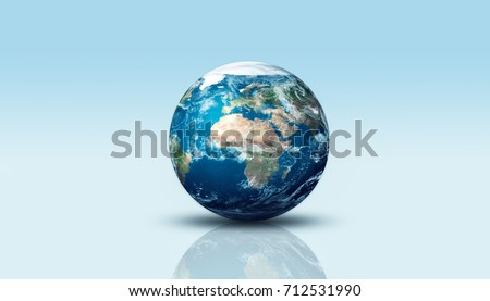 Earth planet on blue isolated plane. Elements of this image furnished by NASA. The Blue Marble #712531990