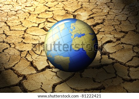 earth planet on dry soil