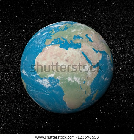 Earth planet showing african continent in the universe surrounded with plenty of stars - Elements of this image furnished by NASA