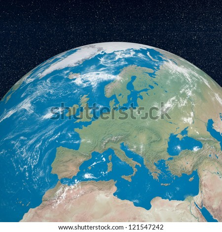 Earth planet showing european continent in the universe surrounded with plenty of stars