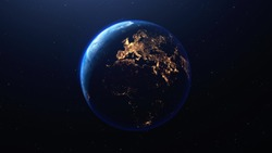 Earth planet viewed from space at night showing the lights of Europe  and other countries, 3d render of planet Earth, elements of this image provided by NASA