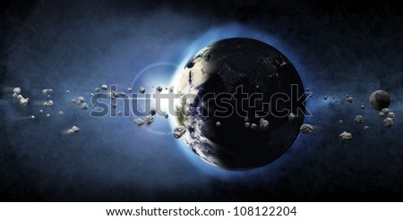 Earth Planet with Rising Sun and Asteroid Belt (Elements of this image furnished by NASA)