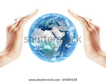 Earth protect on human hands