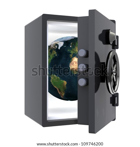 earth protected in a safe 3d illustration, elements of this image furnished by NASA. - stock photo