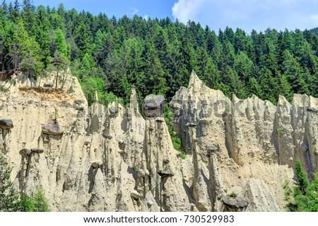 Shutterstock Earth Pyramids can be found in Ritten, above Bolzano, near Klobenstein, Oberbozen, and Unterinn; or  Platten near Percha in the Puster Valley.