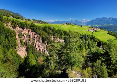 Earth pyramids of South Tyrol, Renon/Ritten region, Italy. Natural phenomenon that comes about in particular terrain, usually after a landslide or an unhinging of the earth.