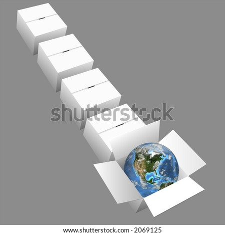 Earth ready for global shipping in a row of cartons/boxes. Earth is a 3D render; boxes are a clean vector render.