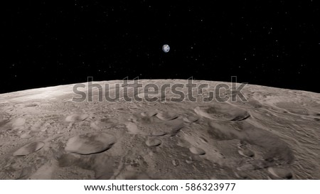 earth rise as seen from near the moon 3D illustration (Elements of this image furnished by NASA)