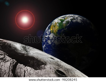 Earth Rising over the Moon (original image of Earth from a public domain image from NASA)